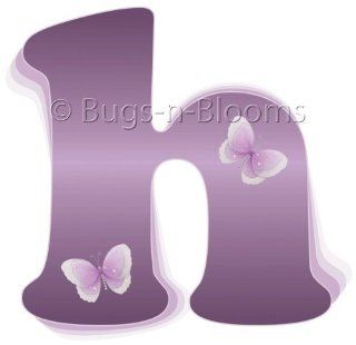 """h"" Purple Butterfly Alphabet Letter Name Initial Wall Sticker   Decal Letters for Children's, Nursery & Baby's Room Decor, Baby Name Wall Letters, Girls Bedroom Wall Letter Decorations, Child's Names. Butterflies Mural Walls Deca"