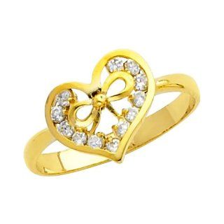 14K Yellow Gold High Polish Finish Heart Solitaire Round cut Top Quality Shines CZ Cubic Zirconia Ladies Promise Ring Band The World Jewelry Center Jewelry