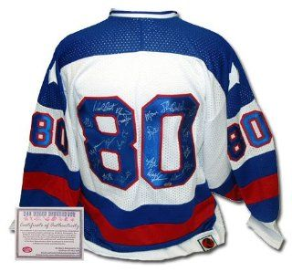 Team USA 1980 Olympic Hockey Team Signed Authentic Style White Jersey  Sports Fan Jerseys  Sports & Outdoors