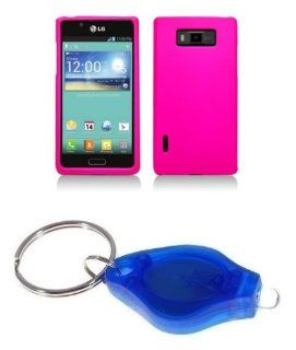 Hot Pink Hard Cover Case + ATOM LED Keychain Light for LG Optimus Showtime Cell Phones & Accessories