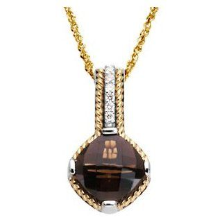 925 Sterling And 14K Yellow Gold And Sterling Silver Gen Smoky Quartz & Diamond Pendant Jewelry