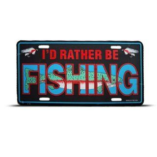 I'D Rather Be Fishing Fish Metal Novelty License Plate Wall Sign Tag Automotive