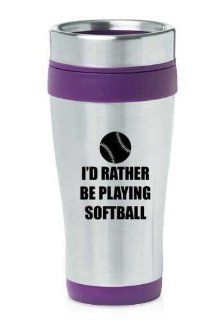 Purple 16oz Insulated Stainless Steel Travel Mug Z1119 I'd Rather be Playing Softball Coffee Cups Kitchen & Dining