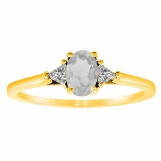 Diva Diamonds S1145WQY8 14K Yellow Gold Oval White Quartz and Triangle Trillion Diamond Ring, .75 cttw, F G, VS   Size 8 Diva Diamonds