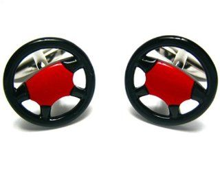Black & Red Car Truck Racing Steering Wheel Cufflinks w/Gift Box Cuff Links Jewelry