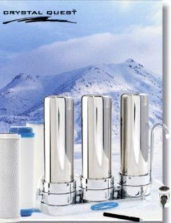 CRYSTAL QUEST� Countertop Replaceable Triple Multi ULTIMATE Water Filter System (Stainless Steel)   Faucet Mount Water Filters