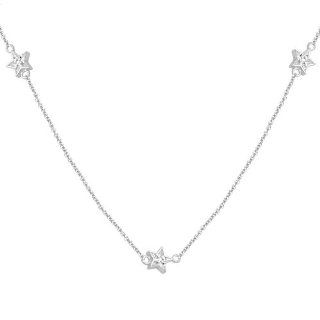 "10k White Gold Diamond Station Necklace (1/10 cttw, I J Color, I3 Clarity), 36"" Pendant Necklaces Jewelry"