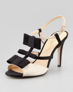bicolor satin t strap bow sandal   kate spade new york   Champagne/Black (40.