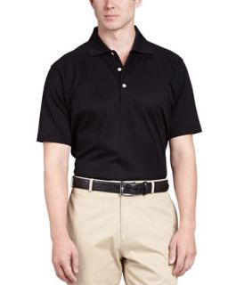 Mens Solid Polo Shirt, Black   Peter Millar   Black (LARGE)