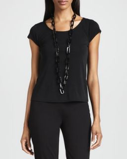 Silk Jersey Cap Sleeve Tee   Eileen Fisher