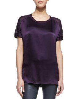 Womens Silk/Jersey Short Sleeve Tee   Vince   Grape (X SMALL)