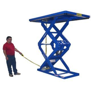 "Beacon Double Scissor Lift Table; Vertical Travel 60""; Platform Width 34""   48""; Platform Length 48""   72""; Capacity (LBS) 1, 000; Raised Height 70""; Lowered Height 10""; Travel Time (Sec.) 7; Model# BEHLTD 34484872"