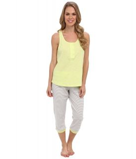Kenneth Cole Reaction Racerback Tank/Capri w/ Contrast Trim Set Womens Pajama Sets (Silver)