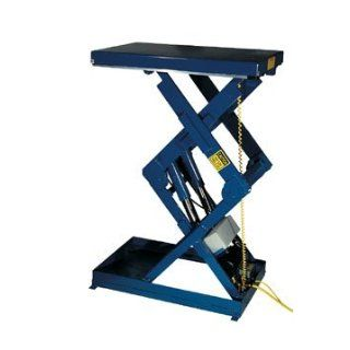 "Beacon Double Shorty Scissor Lift table; Vertical Travel 41""; Platform Width 34""   48""; Platform Length 36""   48""; Capacity (LBS) 5, 000; Raised Height 51""; Lowered Height 10""; Travel Time (Sec.) 16; Model# BEHLTSD"