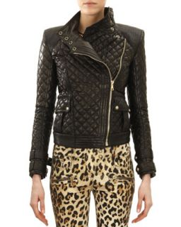 Womens Quilted Leather Moto Jacket, Noir (Black)   Balmain   Noir (38/4)