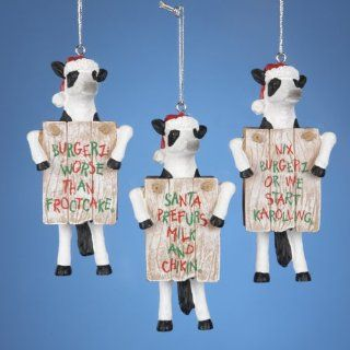 "Club Pack of 12 ""Chick Fil A"" Cow Funny Saying Christmas Ornaments   Decorative Hanging Ornaments"