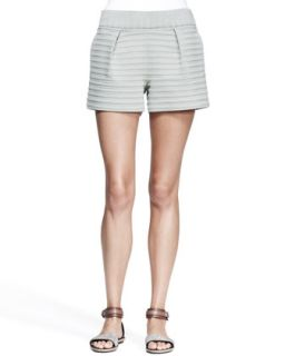 Womens Pleated Bonded Stripe Shorts   Brunello Cucinelli   Thyme (44/8)