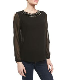 Womens Jessa Chiffon Top with Beaded Neckline   Erin Fetherston   Black (2)