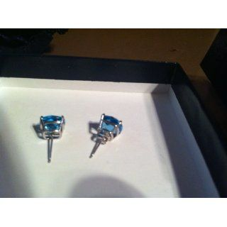 14k White Gold Blue Topaz Checkerboard Cushion Stud Earrings (8mm , 3.80 cttw) Jewelry
