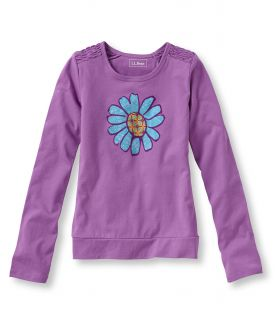 Girls Freeport Knits, Ruched Graphic Tee, Flower Little Girls