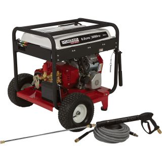 NorthStar Super High Flow Gas Cold Water Pressure Washer — 3000 PSI, 6.0 GPM, Electric Start, Belt Drive, Model#1572082  Gas Cold Water Pressure Washers