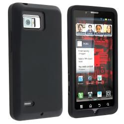 INSTEN Black Soft Silicone Skin Phone Case Cover for Motorola Droid