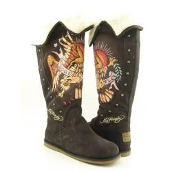 Ed Hardy Womens Brown Faux Fur lined Boots  ™ Shopping