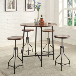 Carolina Fletcher 5 Piece Pub Table Set with Logan Adjustable Stools   Pub Tables & Bistro Sets