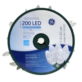 GE 200 Count LED C6 White Christmas String Lights ENERGY STAR