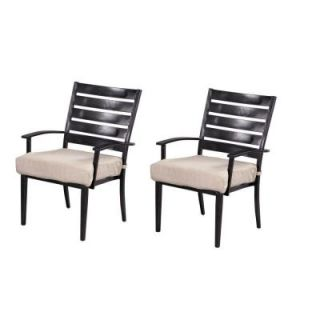 Hampton Bay Marshall Patio Dining Chair with Cushion Insert (2 Pack) (Slipcovers Sold Separately) HD14313