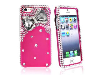 Insten Diamonds with 3D Hot Pink Bow Tie Snap on Case Cover + Mirror Screen Protector compatible with Apple iPhone 5
