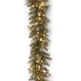 National Tree Company 9 ft. Glittery Bristle Pine Garland with Warm