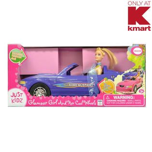 Just Kidz Glamour Girl and Her Cool Wheels   Blue Mustang Car   Toys