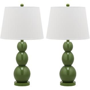 Safavieh  26 Green Glass Metal Table Lamp  Cream Hardback Linen Shade