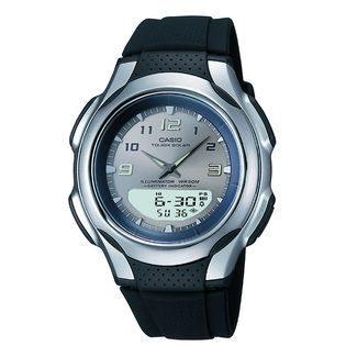 Casio Mens Calendar Day/Date Watch with Round Neutral Dial and Black