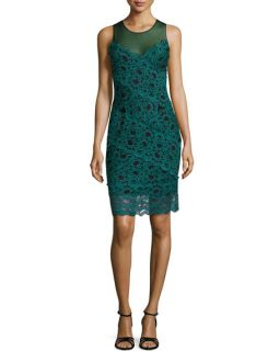Nicole Miller Amy Stretch Lace Dress, Dark Teal