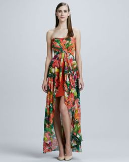 Nicole Miller Strapless Hi Low Gown