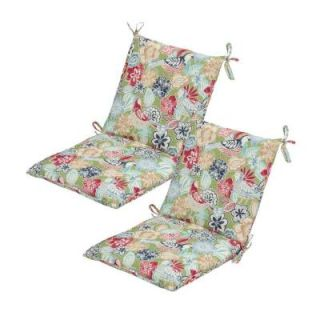 Hampton Bay Jean Floral Mid Back Outdoor Chair Cushion (2 Pack) 7410 02002000