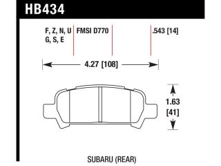 Hawk Performance HB434B.543 Disc Brake Pad Baja Forester Impreza Legacy Outback