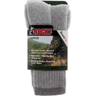 Rocky Wool Blend Hiker Sock, Large, Men's Shoe Size 8–12, 2 Pack