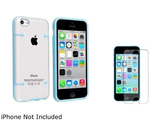 Insten Clear with Blue Trim Clip on Slim Case with Anti Glare Screen Protector Compatible with Apple iPhone 5C 1404941