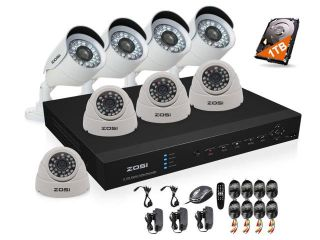 ZOSI 8CH HDMI Standalone DVR Kit H.264 Level Easy DIY DVR Recorder 4x 800TVL Color CMOS Indoor IR Cut Dome Camera 4x 800TVL Outdoor Bullet Camera Security CCTV surveillance system with 1TB