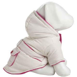 Pet Life White and Pink Two tone Jewel Polyester Fleece Pet Dog Coat