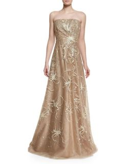 Rene Ruiz Strapless Embroidered Gown, Gold