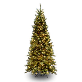Tiffany Fir 7.5 Green Slim Artificial Christmas Tree with 500 Pre Lit