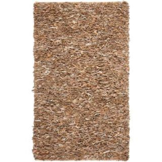 Safavieh Leather Shag Dark Beige 5 ft. x 8 ft. Area Rug LSG421C 5