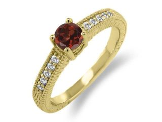 0.70 Ct Round Red Garnet White Sapphire 925 Yellow Gold Plated Silver Ring