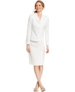 Le Suit Textured Jacquard Three Button Skirt Suit