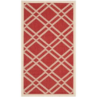 Safavieh Indoor/ Outdoor Courtyard Red/ Bone Rug with .25 inch Pile (7
