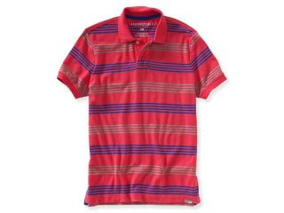 Aeropostale Mens Multicolor Striped Rugby Polo Shirt 679 S